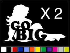 (2) GO BIG FAT TRUCKER GIRL Decals Sticker JDM Vinyl Funny MX Snowmobile Mudflap
