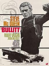 REPRO DECO AFFICHE BULLITT STEVE MCQUEEN 1968 SUR  PAPIER 190 OU 310 GRS