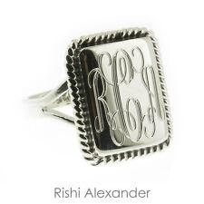 925 Sterling Silver High Polished Monogram Rectangular Rope Edge Signet Ring