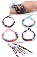 Multi-Colour Wooden Beads Leather Bracelet- Job Lot / Kids, Christmas Party Bags