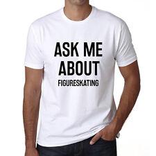 Ask me about figureskating Tshirt, Hommes Tshirt Blanc, Cadeau Tshirt