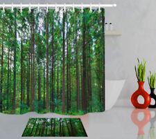 Green Forest Wood Trees Bathroom Waterproof Fabric Shower Curtain Set 12 Hooks
