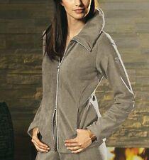 Nuevo elegante Homewear wellness Fleece chaqueta con pedrería 34 36 Heine Taupe * 069571
