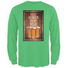St. Patricks Day - Real Women Drink Beer Irish Green Adult Long Sleeve T-Shirt