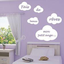 """Stickers Muraux Nuages """"Fais de Beaux Rêves petit ange ..."""" + Prénom perso"""