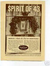Schenley Spirit of '43 Whiskey Ad 1940's Original Ad