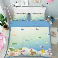 3D Ocean Fish Kids 89 Bed Pillowcases Quilt Duvet Cover Set Single Queen King CA