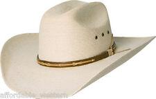 35-B  COWBOY HAT- Western FINE Weave PALM LEAF Straw - 30X - Leather Hatband