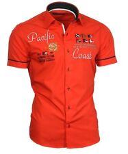 Hemd Herrenhemd Kurzarm Kurzarmhemd bestickt rot 82003 Binder de Luxe
