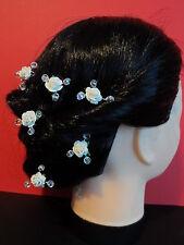 Cristal Flor Hair Pins Perlas Rosa Bridal Accesorio Boda Novia 30 Color