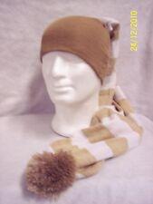 Cappello Tubolare/Hat Tube Maxi Righe Larghe BEIGE 100% Lana
