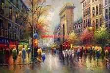 "36x48""(92x122 cm)100%Hand Painted Oil Flat, Street scene/Paris/ Eiffel Tower"