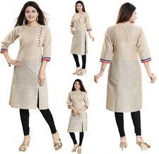 Women Indian Cotton Beige Kurti Tunic Ethnic 3/4 Sleeves Kurta Shirt Dress NK13