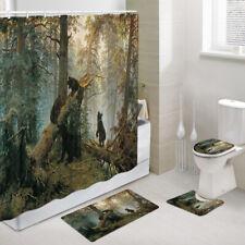 Naughty Forest Bear Baby Shower Curtain Toilet Cover Rug Bath Mat Contour Rug