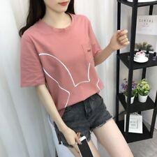 Women Girls Summer Clothes Fashion Korean Short Sleeve Loose Base T-shirt Tops