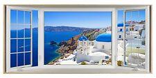 Santorini Greek Island Greece 3D Effect Bay Window Canvas Picture Wall Art Print