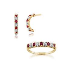 Gemondo 9 Ct Oro Amarillo Rubí Y Diamante Medio Pendientes De Aro & Set Anillos