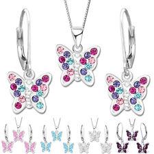 SET Ohrringe Kette mit Anhänger Schmetterling 925 Echt Silber für Kinder Damen