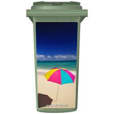 BRIGHT UMBRELLA ON A BEACH WHEELIE BIN STICKER PANEL