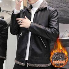 Mens Winter Fleece Lined Leather Coat Outwear Short Jacket Motorcycle Zipper New