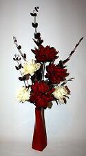 Artificial Flowers Silk Flower Arrangement In Red, Black & Cream Vase, 80cm High