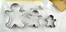 3 Pezzi Ginger Pane Uomo Donna Ragazzo Ragazza Cookie, biscotti Pasticceria Cutter MACCHIA