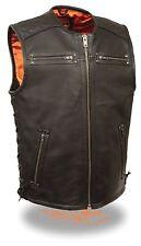Men's Zipper Side Lace Naked Leather Vest, Quilted Shoulders - Gun Pockets