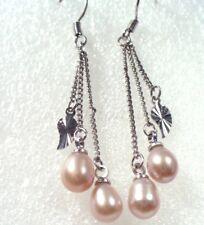 Women New Freshwater Tear drop Pearl & Silver Cross Dangle Hook Dangle Earrings