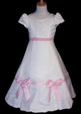 WHITE/PINK GIRLS FLOWER GIRLS BRIDESMAIDS DRESS WEDDING PARTY SIZE 2 4 6 8 10
