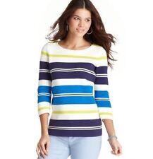 NWT Ann Taylor Loft Blue Sporty Stripe Zip Shoulder 3/4 Sleev Knit Shirt $59 S-M