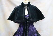 Cotton Velvet Cape Satin Lined Victorian Steampunk Goth Bridal OBSIDIAN NEW