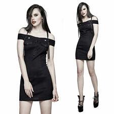 PUNK RAVE Off The Shoulder Dress Gothic Kleid Stretch-Kleid Mini Schwarz BLACK