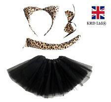 LEOPARD TUTU COSTUME Ladies Kids Girls Halloween Wild Cat Animal Fancy Dress UK