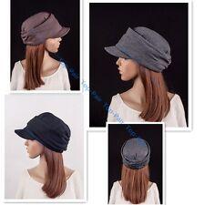 Womens Pleated Layers Beret Beanie Visor Hat Peaked Brim Casual Autumn Flat Cap