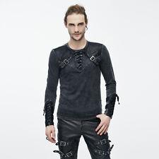 Mens Top Tee Arkham Dieselpunk Black/Brown Goth Long Sleeve T-Shirt Steampunk