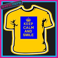 Mantener la calma y sonrisa Novedad Regalo Divertido Adultos Camiseta