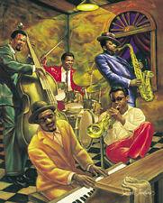 """Cool Jazz"" by Sarah Jenkins Poster Print Swing Blues Club Black Americana Art"