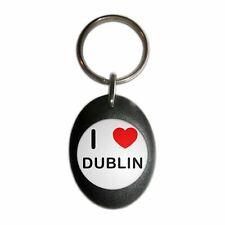 I Love Dublin - Plastic Oval Key Ring Colour Choice New