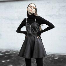 PUNK RAVE Leatherstrap Dress Kunst-Leder Mini-Kleid Skater Dress Gothic Darkwear