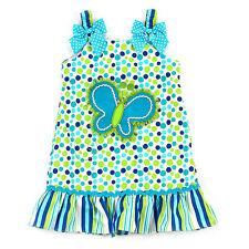 Youngland Girls 2T 3T 6X Blue White Green Dot Butterfly Summer Dress Sundress