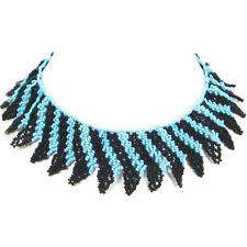 HANDMADE BLUE BLACK BEADED NATIVE  STYLE INSPIRED CHOKER/COLLAR NECKLACE