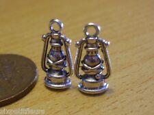 2x Dolls house silver storm lanterns oil lamps lights 1:24TH scale antique UK