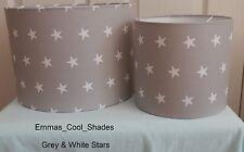 Grey and White Stars Lampshade Handmade 20 30 40 cm Nursery Baby Fabric Lightsha