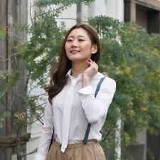 Women's Shirt Poplin Long Sleeve Tie Neck Formal White Wrinkle-free Collared