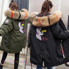 Women's long slim down cotton jacket coats hood padded jackets coat outwear fur