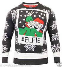 Mens Christmas Jumper Xmas Knitted ELF SELFIE Novelty Elfie Sweater New S M L XL