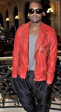 New Stylish Kanye West Red Biker Slim fit Genuine Leather Jacket
