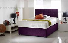 MODERN CHENILLE DIVAN BED + MEMORY MATTRESS + HEADBOARD 3FT 4FT 4FT6 Double 5FT