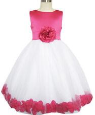 Flower Girl Dress Rose Flower Tulle Wedding Pageant Bridesmaid Size 2-14 Formal