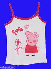MAGLIETTA CANOTTIERA TOP BAMBINO BIMBA PEPPA PIG ORIGINALE COTONE spalline rosa
